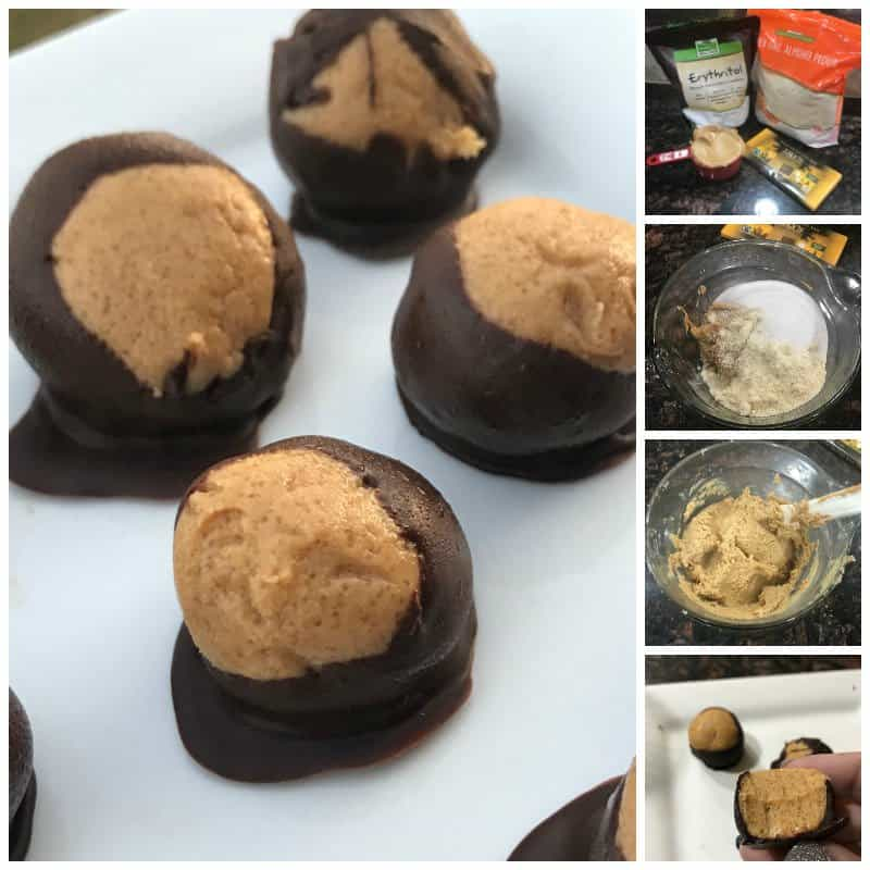 If you are looking for a good sugar free dessert idea, this low carb peanut butter and chocolate balls recipe tastes just like a Reese's peanut butter cup but better!
