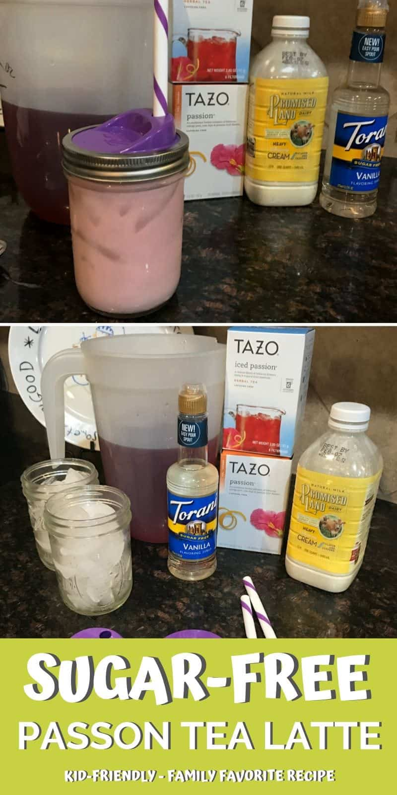 You are going to fall in love with this keto friendly Sugar-Free Passion Tea Latte Starbucks Copycat Recipe! Try it today!