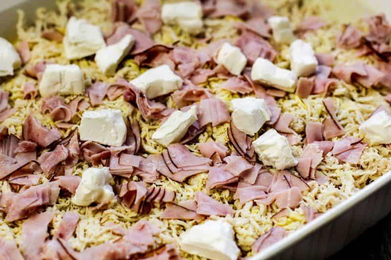 shredded chicken, ham, and cream cheese in casserole bowlKeto Chicken Cordon Bleu Casserole Recipe