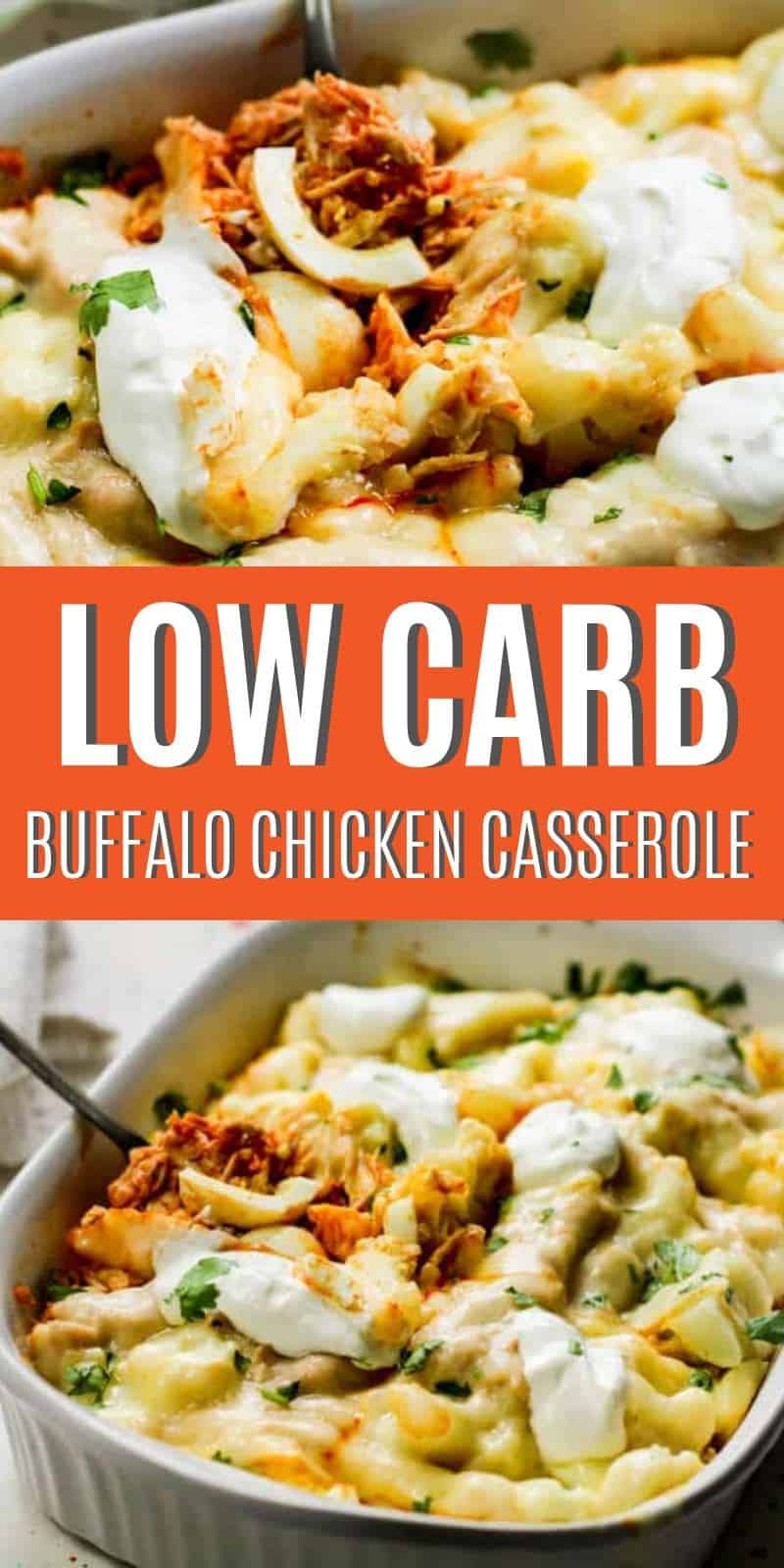 This Low Carb Buffalo Chicken Casserole Recipe is the perfect recipe for dinner tonight! The buffalo flavors mixed with cauliflower and cheese are just amazing!