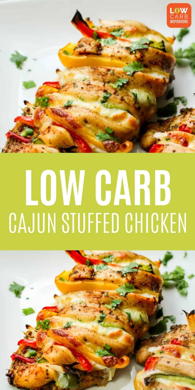 This low carb cajun stuffed chicken recipe tastes delicious and can be on the table in about 30 minutes. Serve this easy dinner idea with a salad and enjoy!