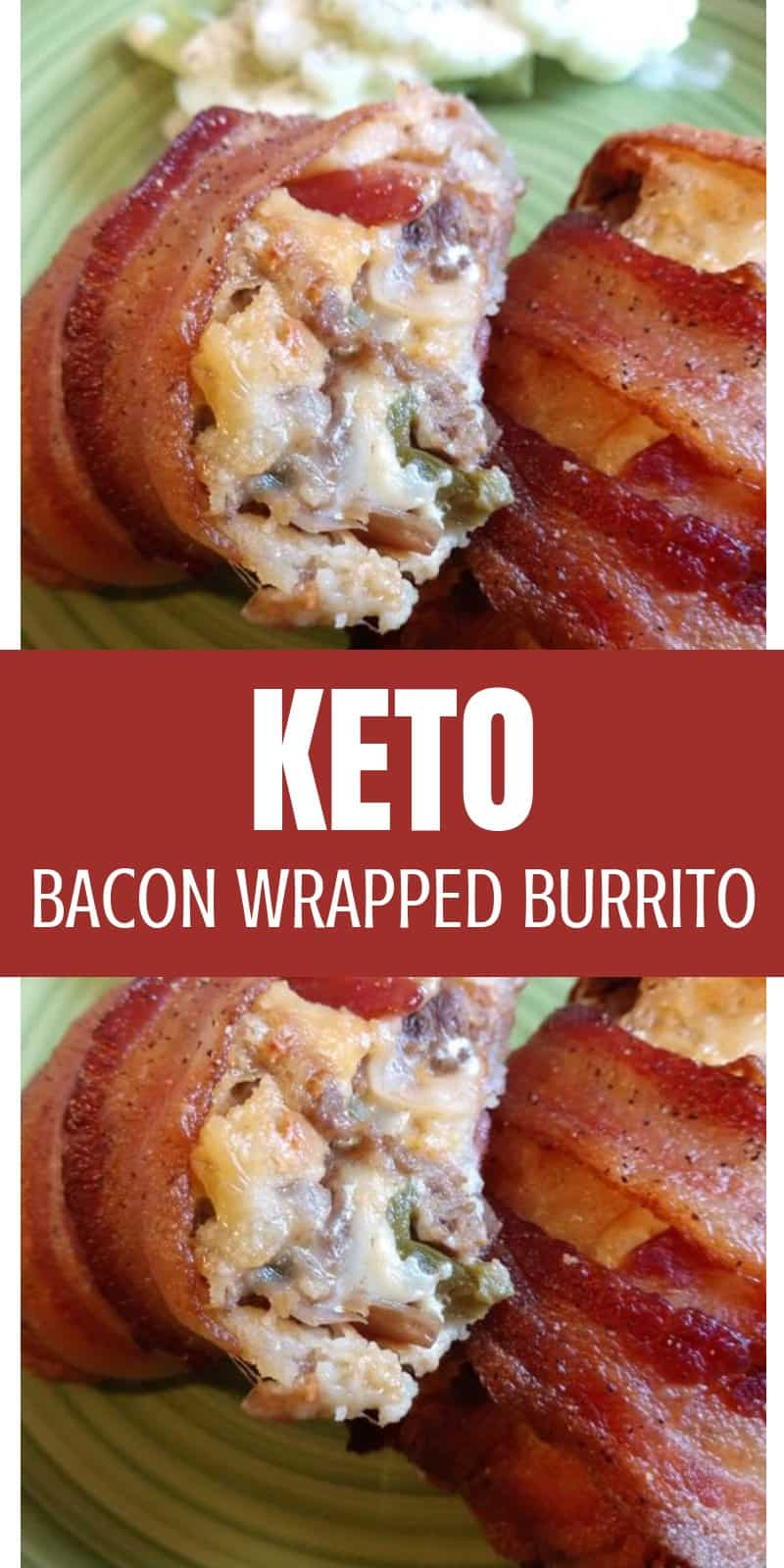 This keto bacon wrapped burrito recipe is made with keto fathead pizza dough and wrapped in bacon! There's no need for eating keto on the go when you can make a delicious keto burrito like this at home!