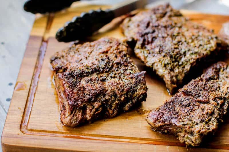 Low Carb Brazilian steak on a wooden board