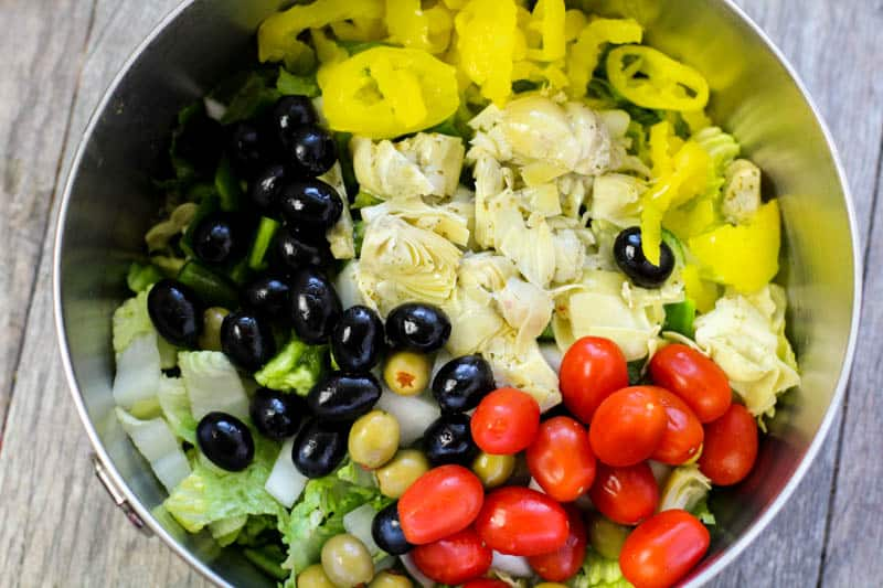 Antipasto ingredients in a bowl