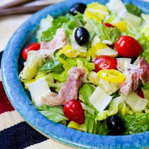 Low Carb Antipasto Salad on a teal plate