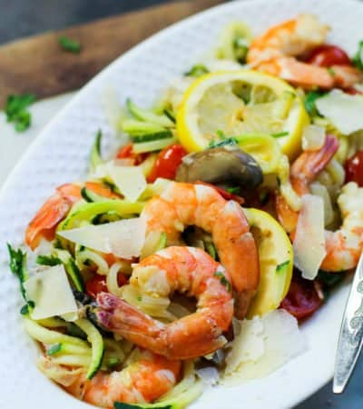 Low Carb Garlic Shrimp with Zoodles is the bomb! Anyone who tries this recipe is going to fall in love with the taste of the garlic shrimp and the zoodles. Shrimp is a yummy low carb option that many people don't really think about.