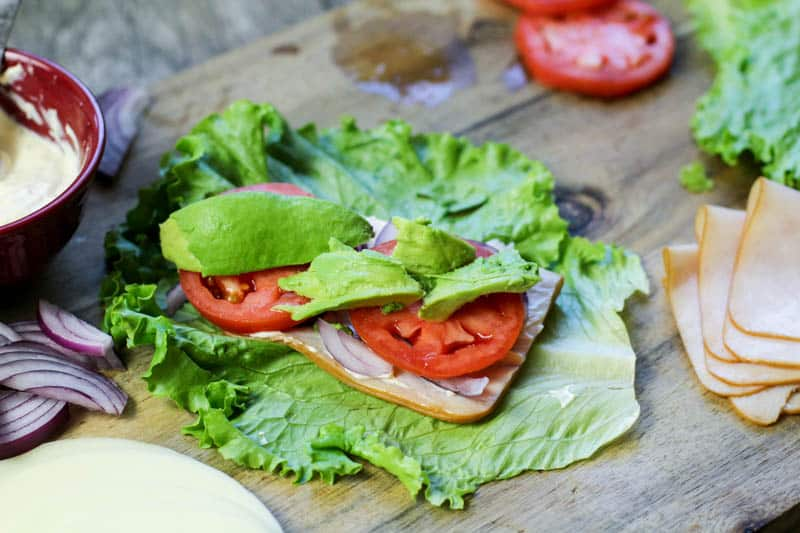 avocado slices on lettuce wrap