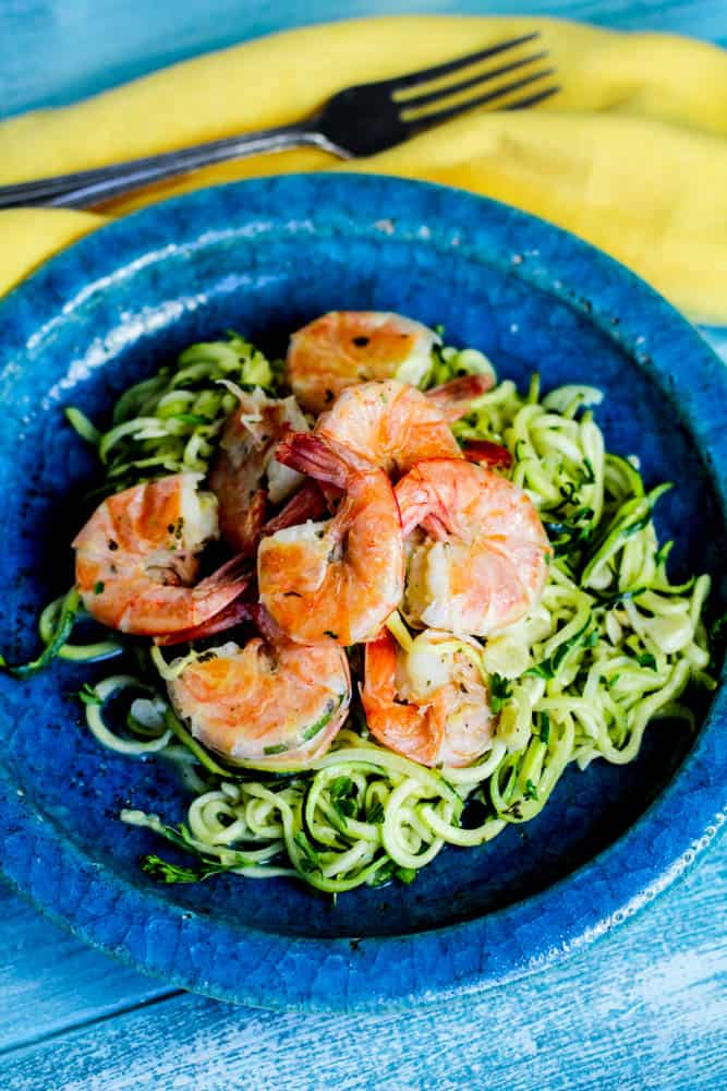 This is the BEST Low Carb Shrimp Scampi with Zoodles Recipe I've ever had! The zoodles are the perfect replacement for pasta noodles when doing the Ketogenic diet!