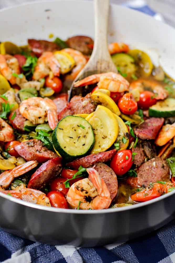 25 Minute Shrimp and Sausage Skillet Dinner