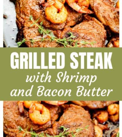 This pan-grilled steak with shrimp and bacon butter recipe is a go-to keto meal idea for my family. Your taste buds will thank you later...I promise!