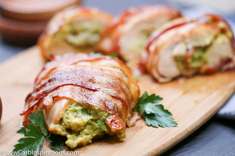 Bacon Wrapped Guacamole Stuffed Chicken Recipe