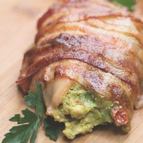 Bacon Wrapped Guacamole Stuffed Chicken Recipe