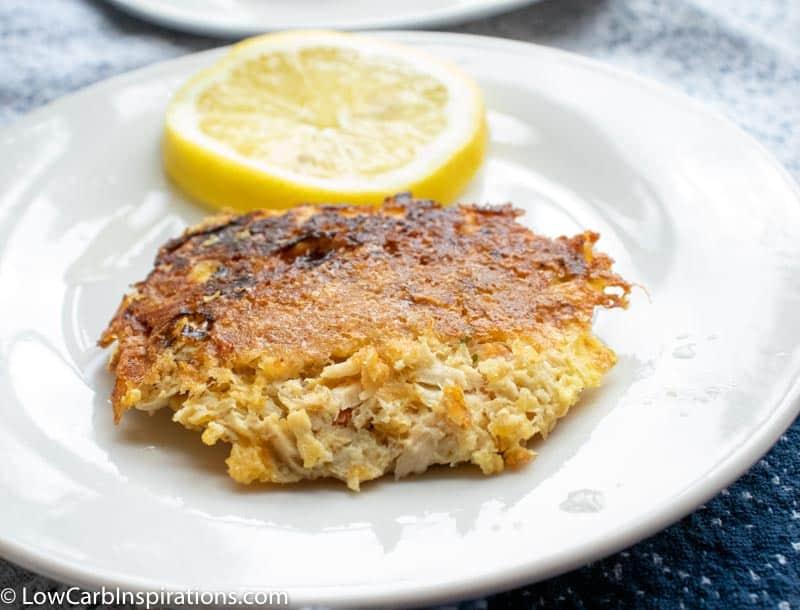 Keto Salmon Patties Recipe served with lemon