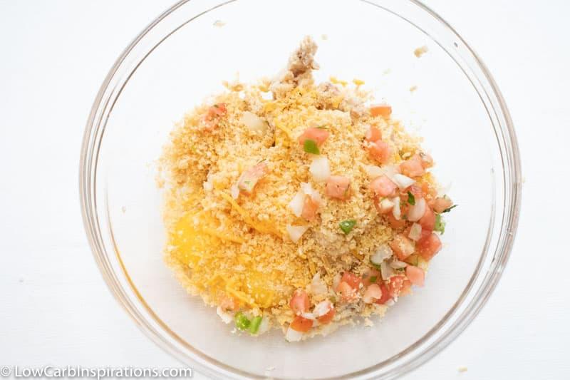Keto Salmon Patties Recipe ingredients process in a bowl