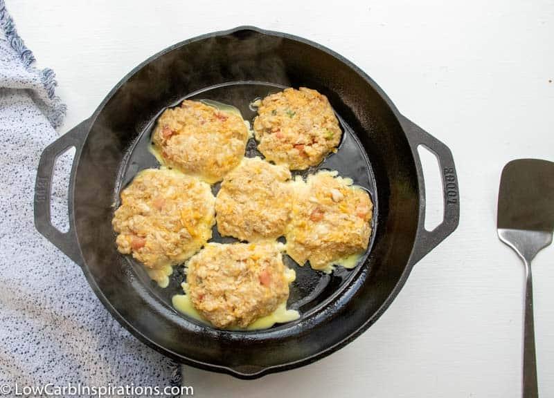 Keto Salmon Patties Recipe in the frying pan