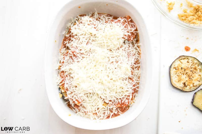 cheese on top of eggplant casserole