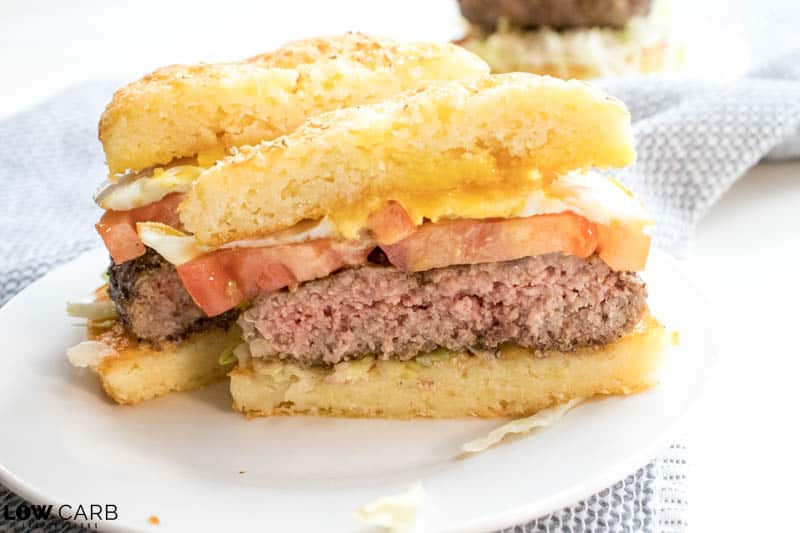 Low carb keto hamburger bun with burger, tomato and egg