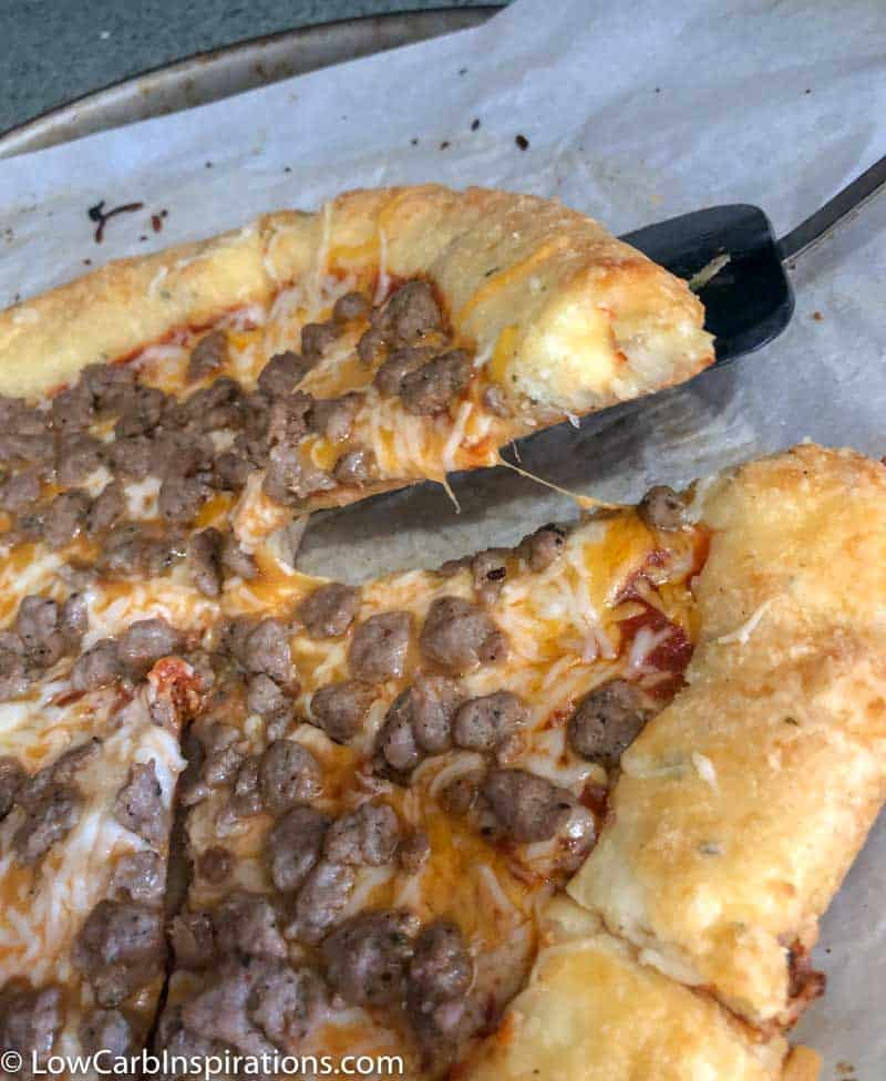 Deep Dish Cheese Stuffed Crust Keto Pizza Recipe