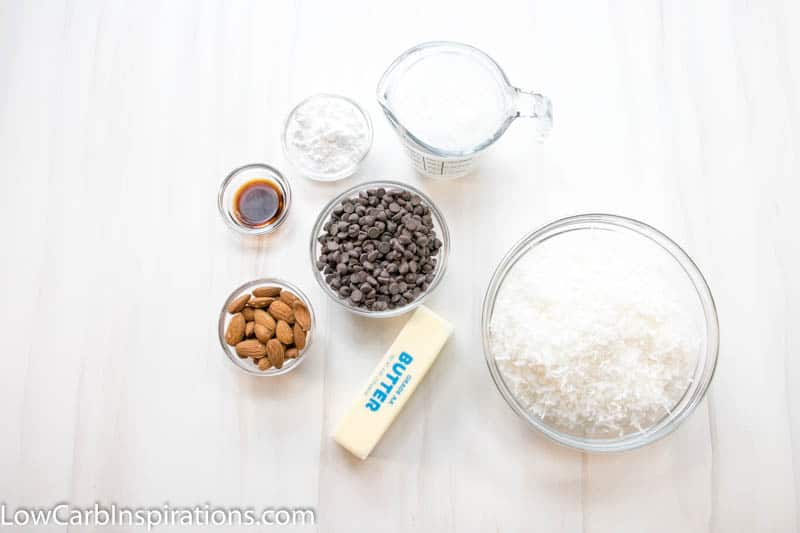Ingredients for almond joy fat bomb laying on a white surface