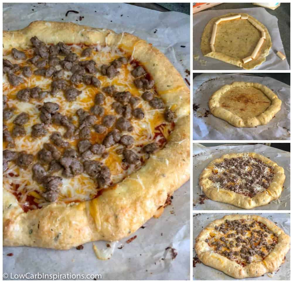Keto Cheese Crust Stuffed Pizza made with Fat Head Dough collage photo