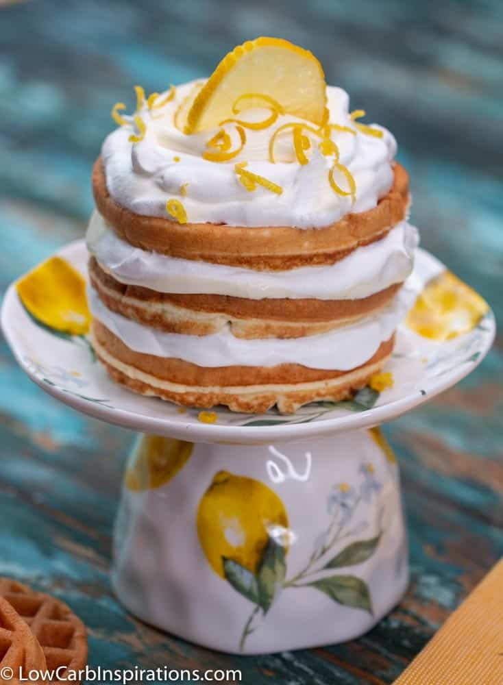 Keto Lemon Chaffle Recipe on a teacup mini cake plate stand