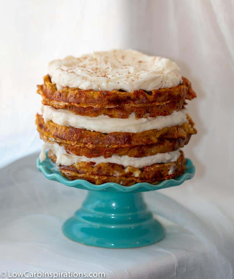 Keto Pumpkin Cake Chaffle Recipe served on a mini cake plate