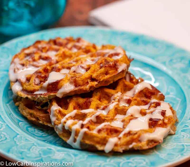 Keto Pumpkin Chaffle Recipe with cream cheese glaze
