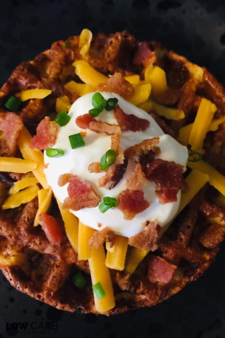 Holy Moly! This Jicama Loaded Baked Potato Chaffle is AMAZING! If you miss potatoes on the Keto diet, you are going to love this Keto chaffle recipe!