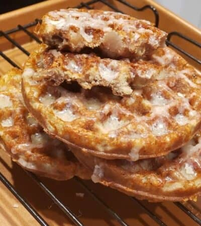 "Hello, fall! Hello...everything apple!!! You are going to love these Keto ""Apple"" Fritter Chaffles! They are so good and perfect for the season!"