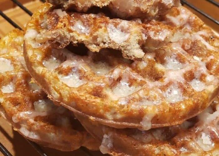 """Hello, fall! Hello...everything apple!!! You are going to love these Keto """"Apple"""" Fritter Chaffles! They are so good and perfect for the season!"""
