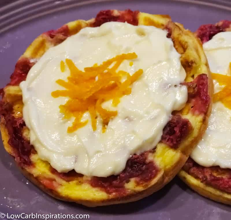 Cranberry Swirl Chaffles with Orange Cream Cheese Frosting