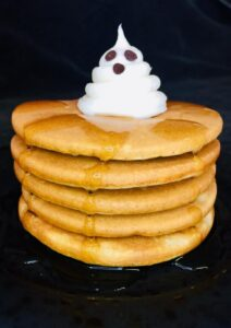 These Halloween Spiced Ghost Pancakes (aka chancakes) are perfect for breakfast on Halloween! You are going to love how fluffy these pancakes taste and how easy they are to make!