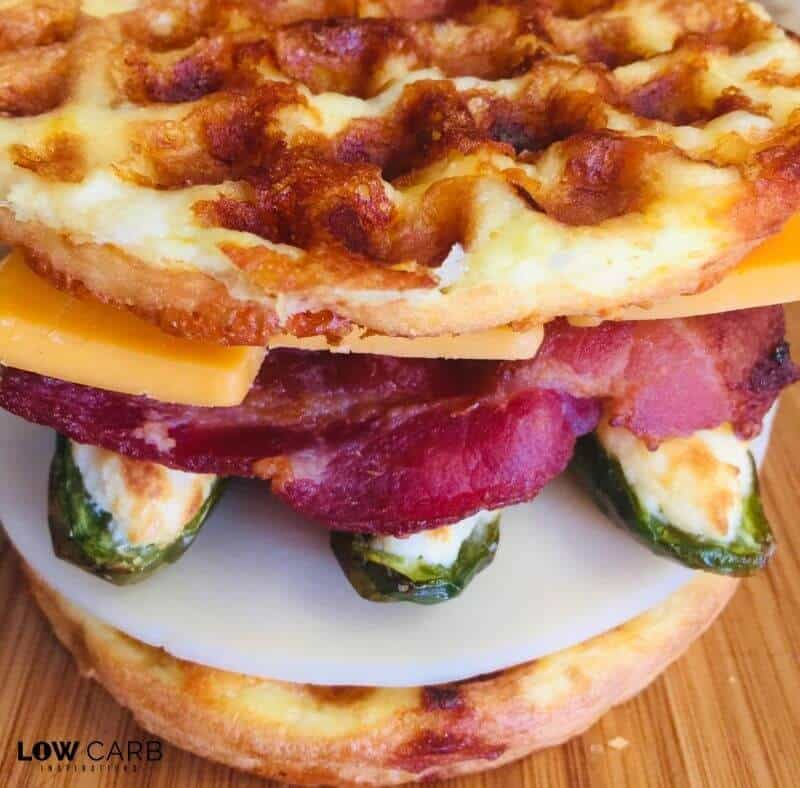 This Jalapeno Popper Grilled Cheese Chaffle will know your socks off!! Spicy and full of goodness is packed into this non-traditional grilled cheese recipe!
