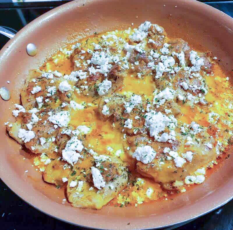 Skillet Chicken Thighs with Roasted Red Pepper Sauce and Feta Cheese Recipe