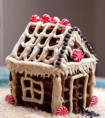Keto Gingerbread House Recipe made with waffles