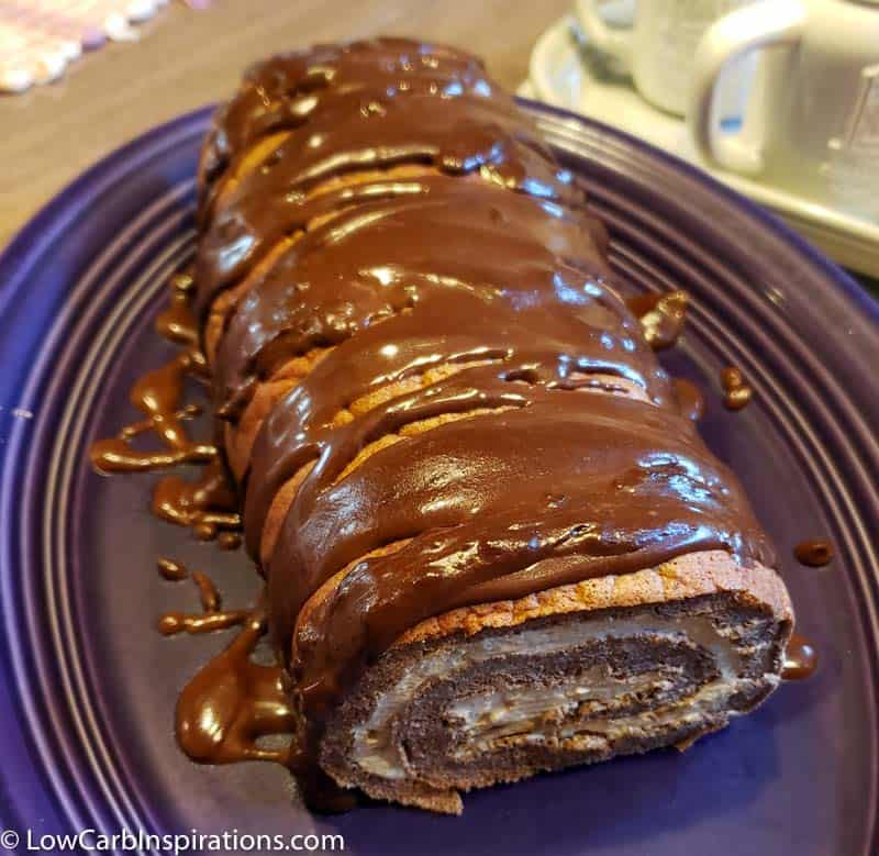 Keto Chocolate Cake Roll with Coffee Cream Filling
