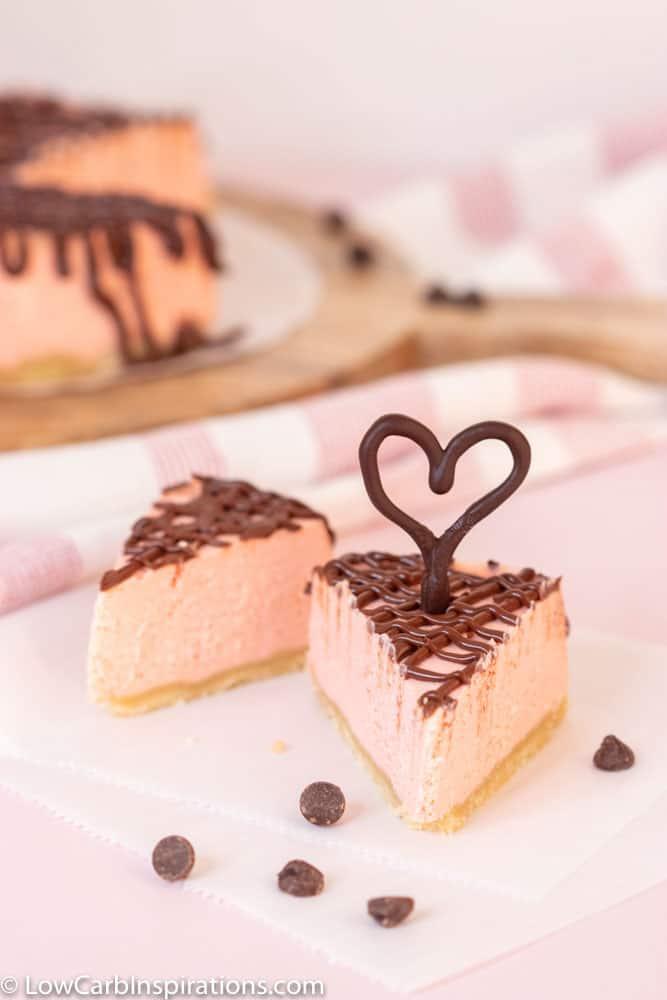 Keto Pink Chocolate Ganache Cheesecake Recipe
