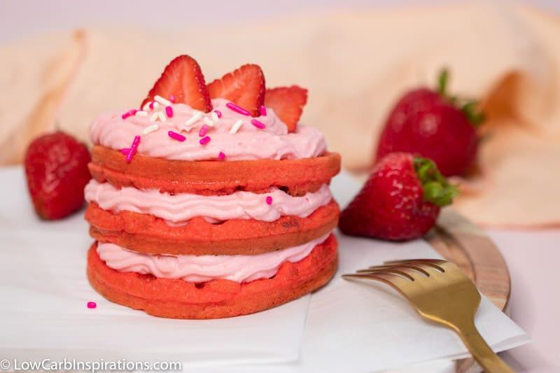 Keto Strawberry Cake Chaffle Recipe