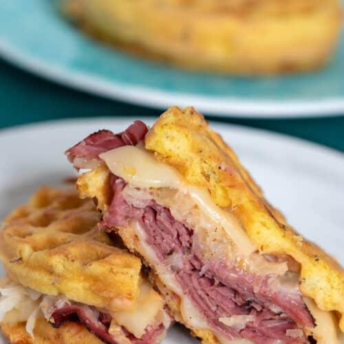 Low Carb Reuben Chaffle Sandwich