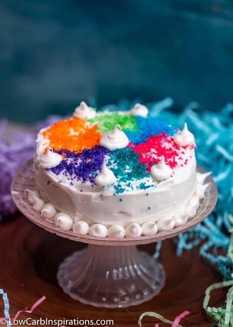Keto Birthday Cake Chaffle with sugar free keto sprinkles that are homemade!