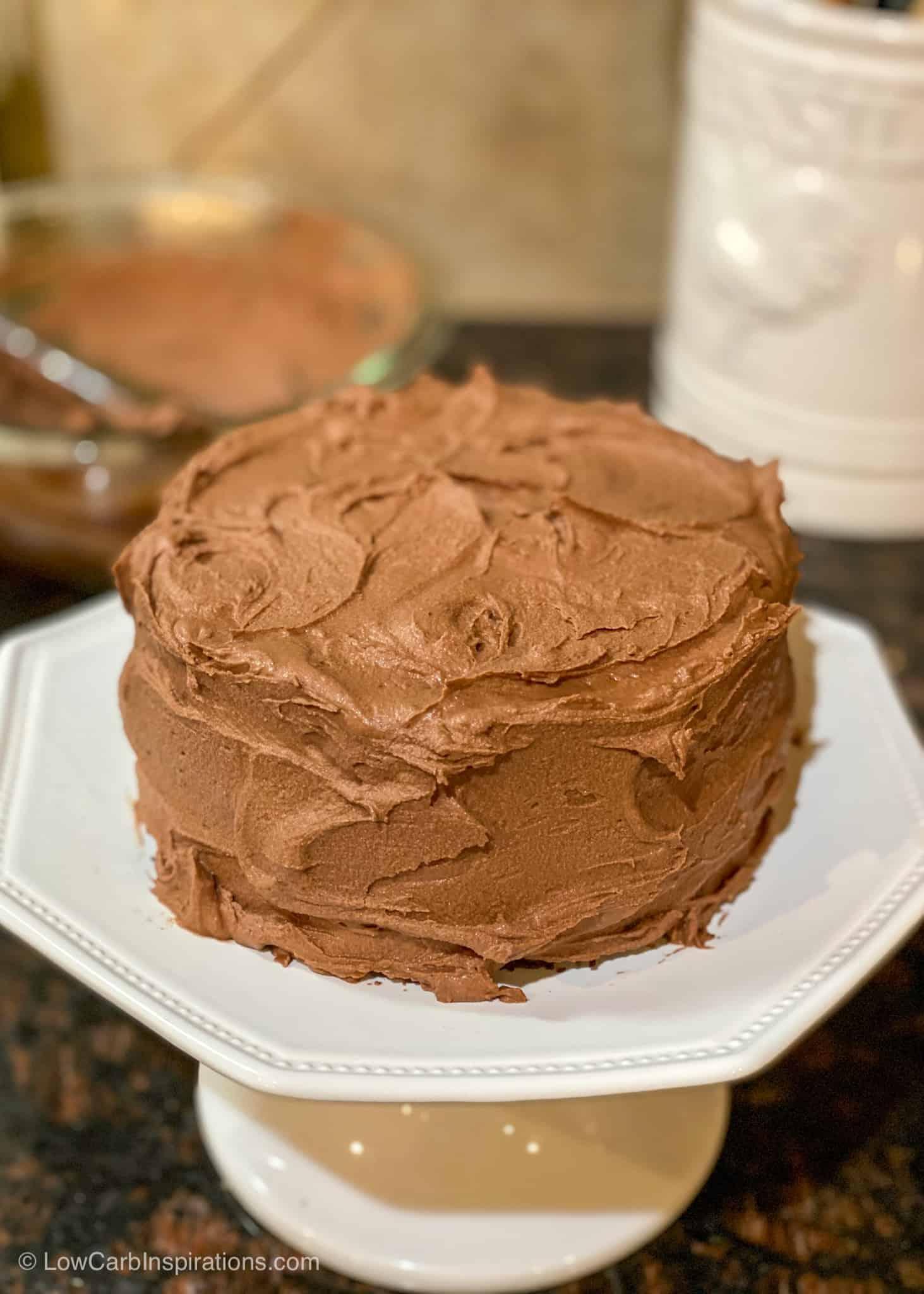 Keto Chocolate Crazy Cake Recipe with sugar free chocolate frosting recipe