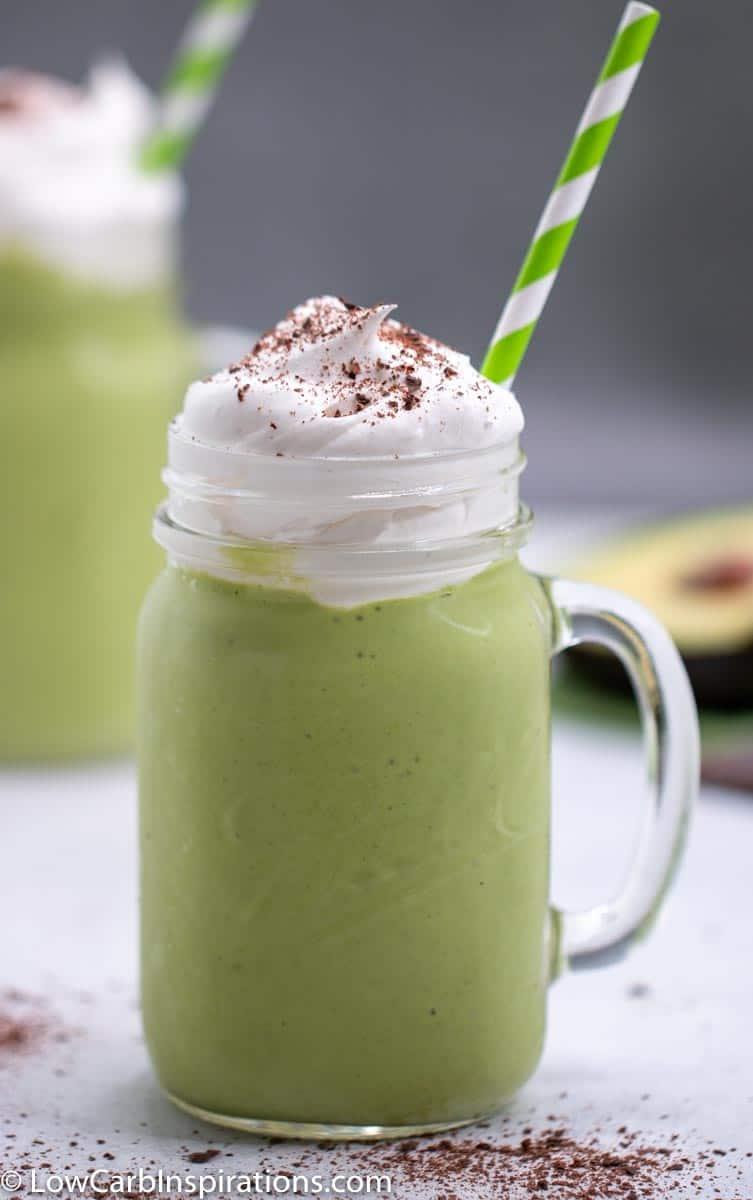 Sugar Free Shamrock Shake Recipe served in a Ball Mug with a straw