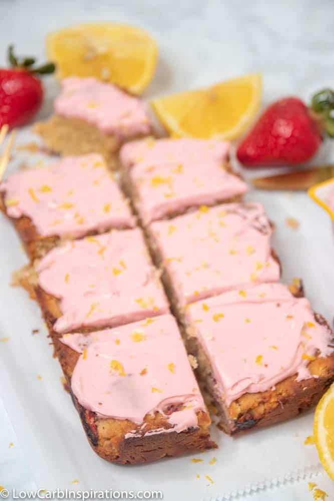 Keto Strawberry Lemon Blondies Recipe