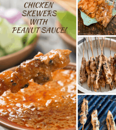 Grilled Chicken Skewers served with Keto Peanut Sauce!