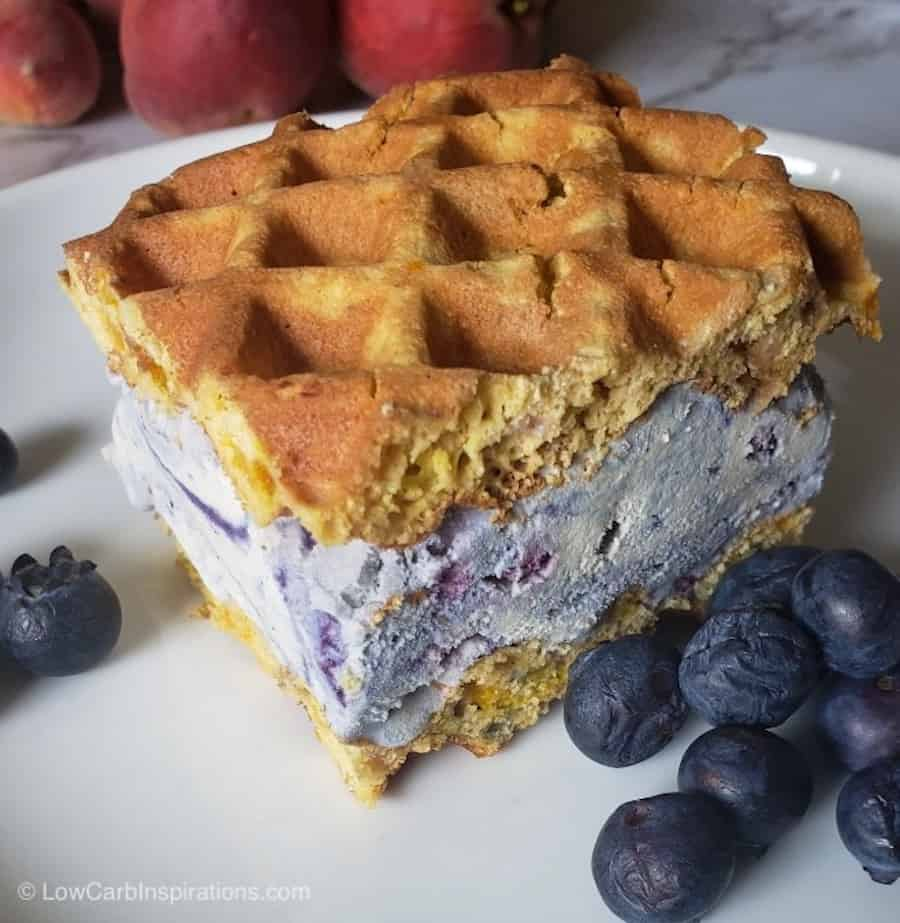 Best Keto Blueberry Ice Cream Recipe made into a keto ice cream sandwich
