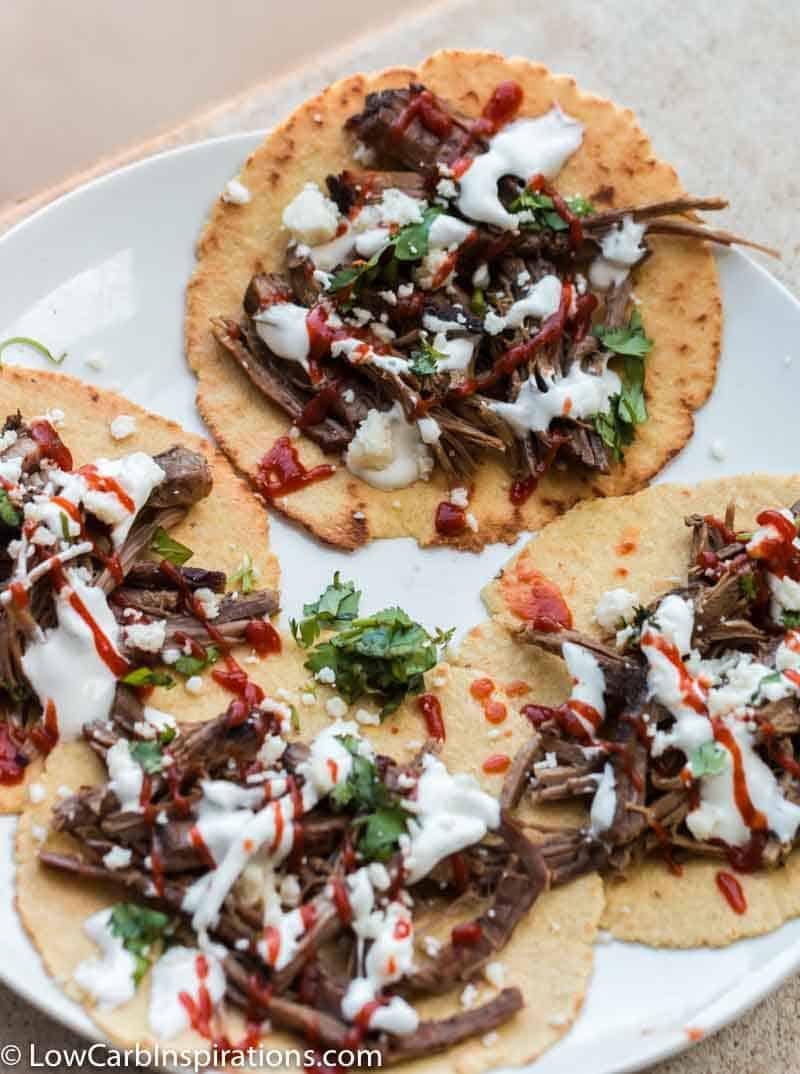 Keto Barbacoa Tacos on Homemade Keto Tortillas