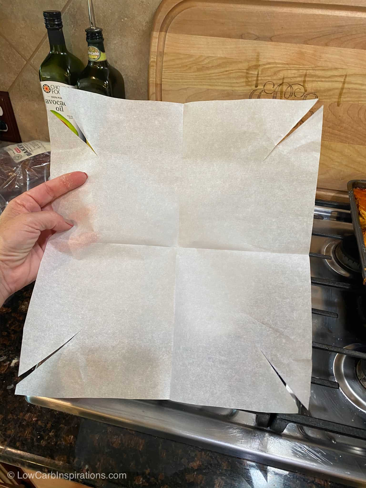 Photo shows the cut marks in the parchment paper