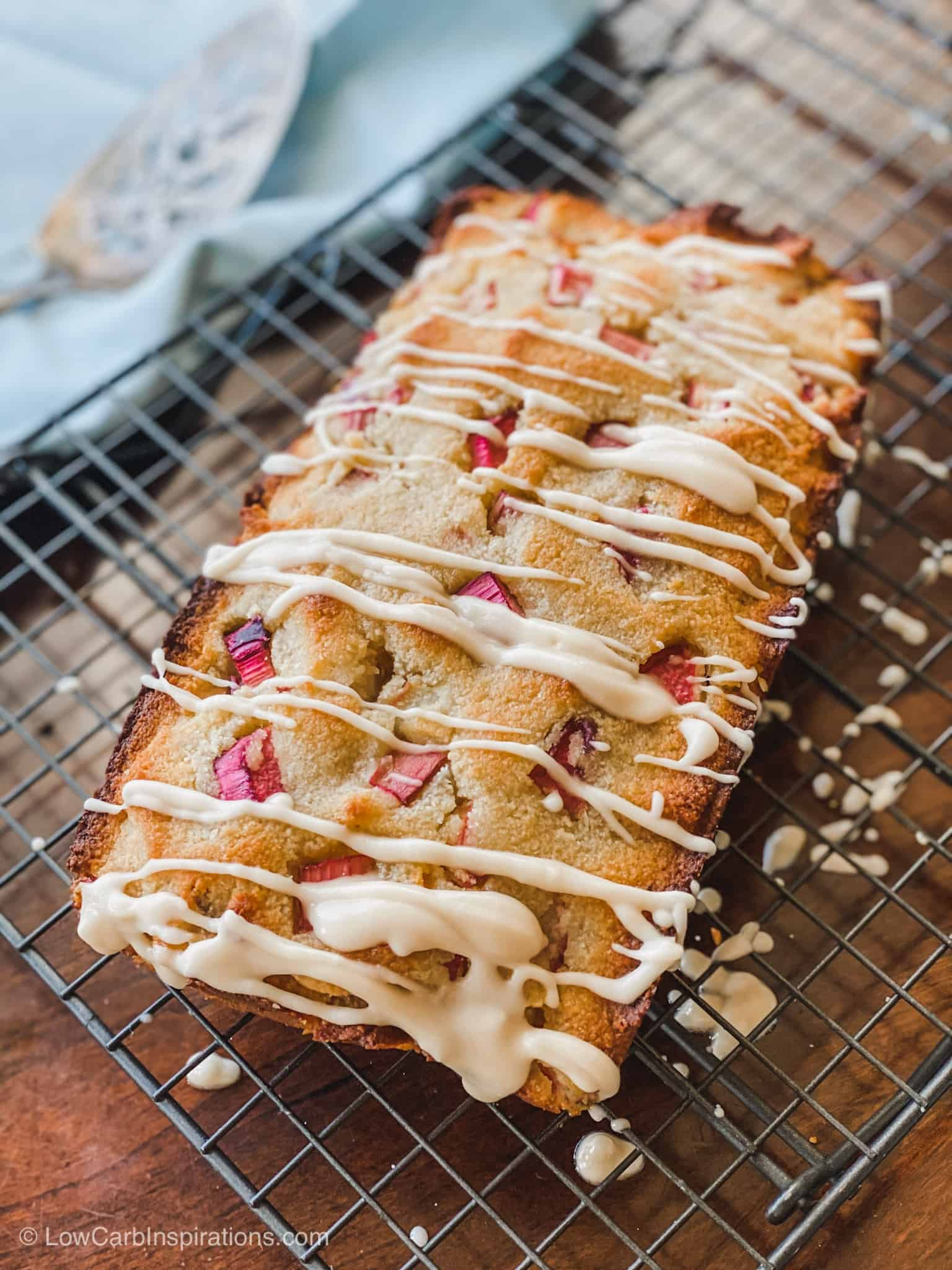 Keto Rhubarb Bread Recipe with a Glaze Topping