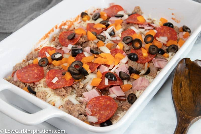Low Carb Meat Lovers Pizza Casserole