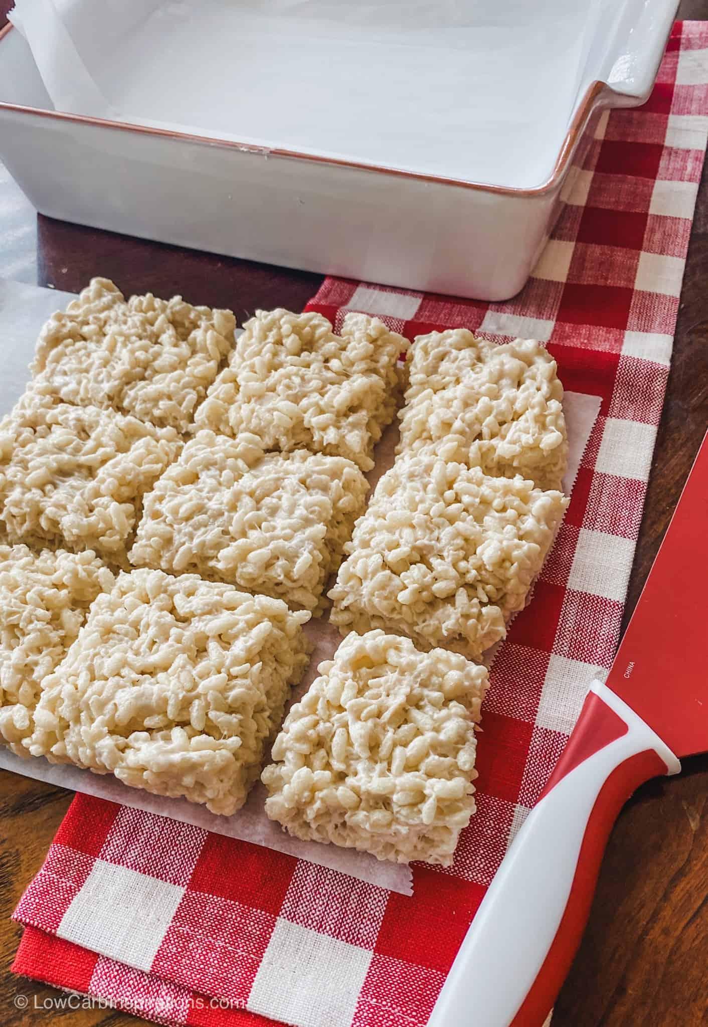 Keto Rice Crispy Treats Recipe made with keto cereal